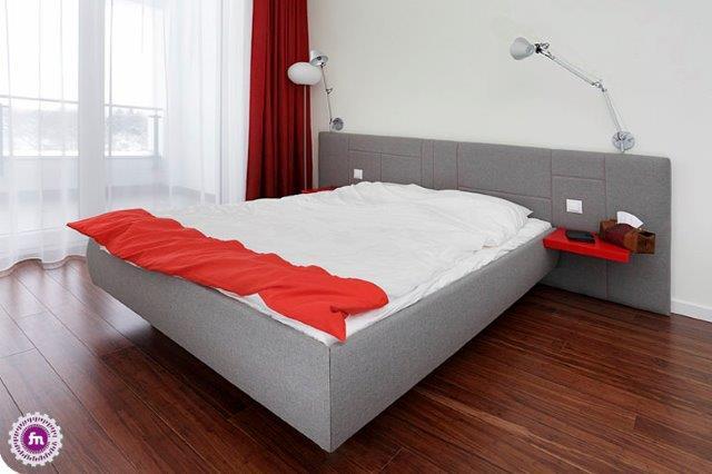 Sypialnia z akcentem czerwieni - projekt Fabryka Nastroju
