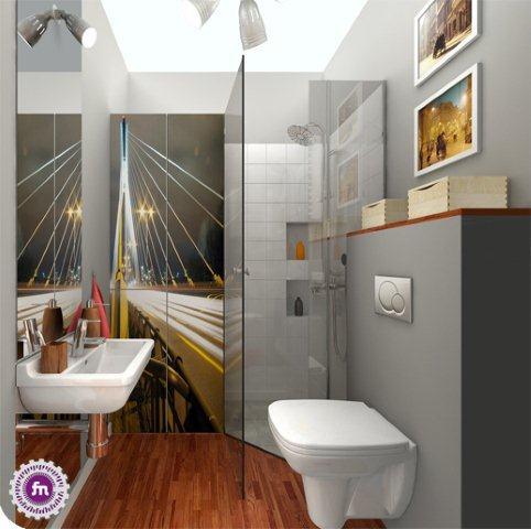 Fototapeta z mostem Świętokrzyskim na ścianie w łazience. Projekt Fabryka Nastroju