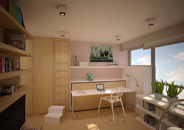 Łóżko składane połączone z blatem biurka