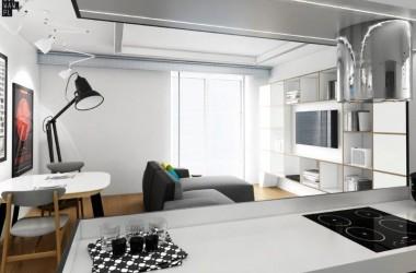 Szarość we wnętrzach – mieszkanie 80 metrów kw