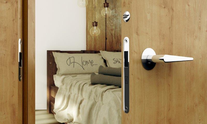 Drewniane drzwi Interdoor, zamek magnetyczny, klamka Minimal Line Tupai