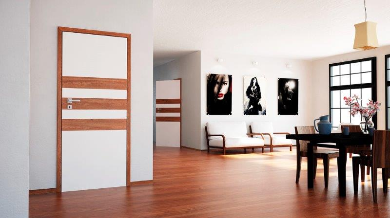 Drzwi z elementami paneli podłogowych