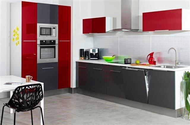 Szary i czerwony kolor w kuchni  Kuchnia