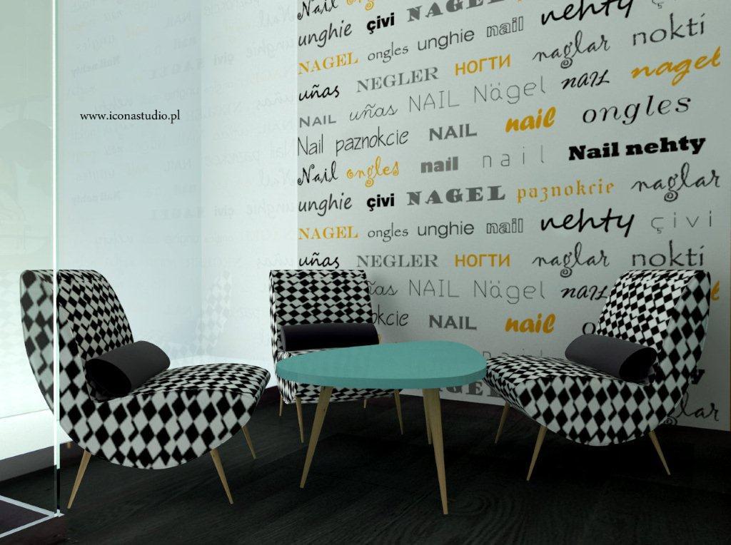 Fototapeta Paznokcie na ścianie w salonie kosmetycznym. Proj. Icona studio