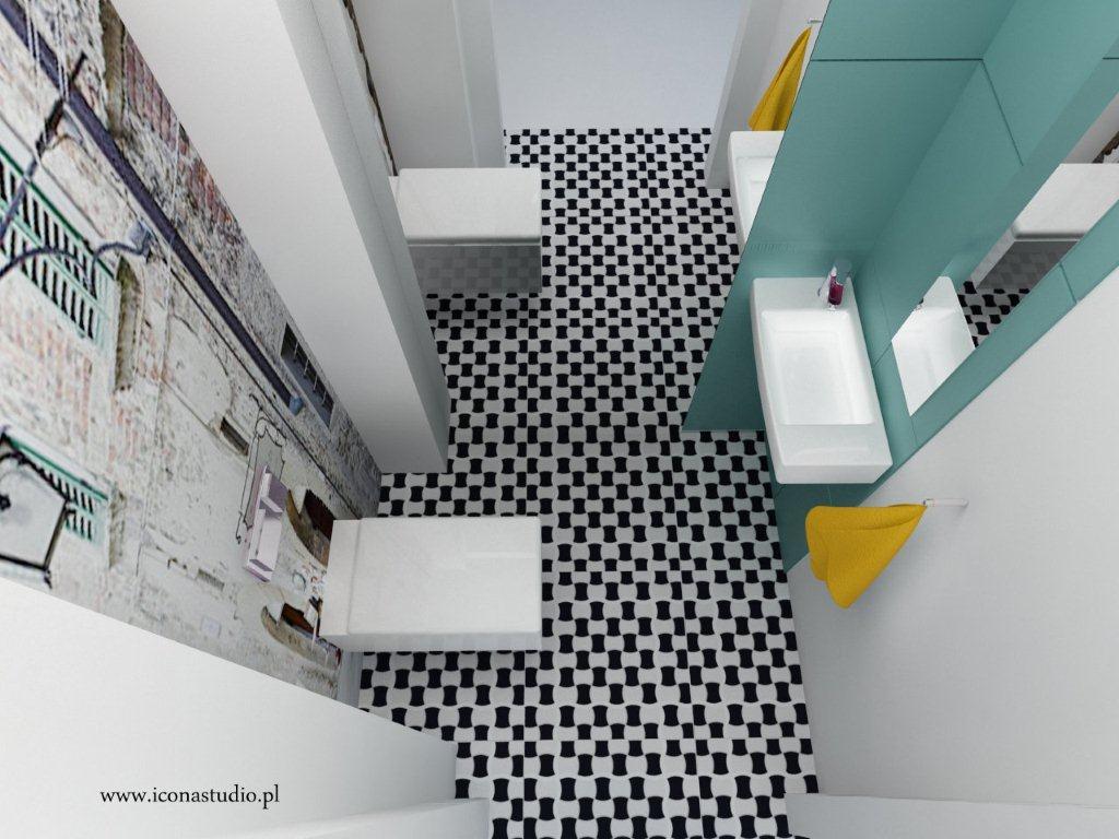 Fototapeta laminowana na ścianie w łazience. Proj. Icona studio