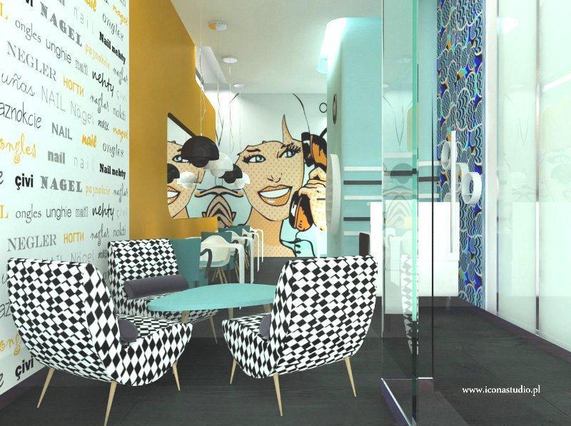 Fototapeta dekorująca ścianę w salonie kosmetycznym. Proj. Icona studio