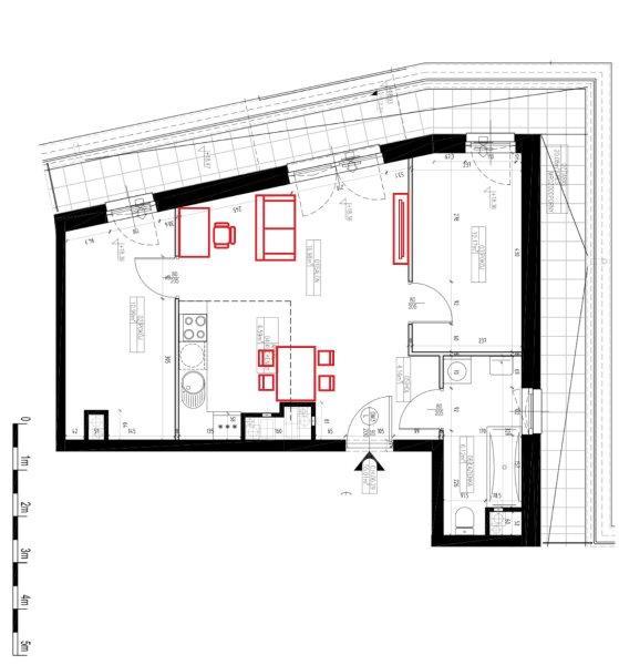 Plan mieszkania z narzuconą propozycją