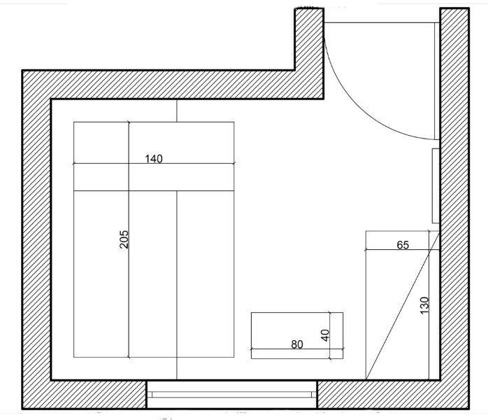 Propozycja umeblowania małego pokoju; proj. Michał Zawadzki