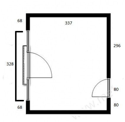 Plan pokoju o powierzchni 17 metrów kwadratowych