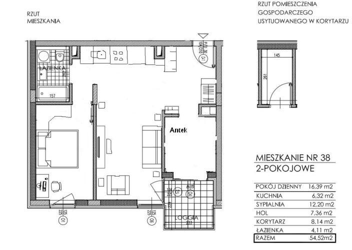 Projekt mieszkania 57 metrowego