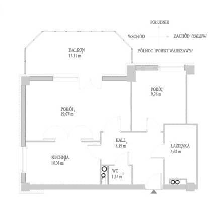 projekt dwupokojowego mieszkania przed przeróbką