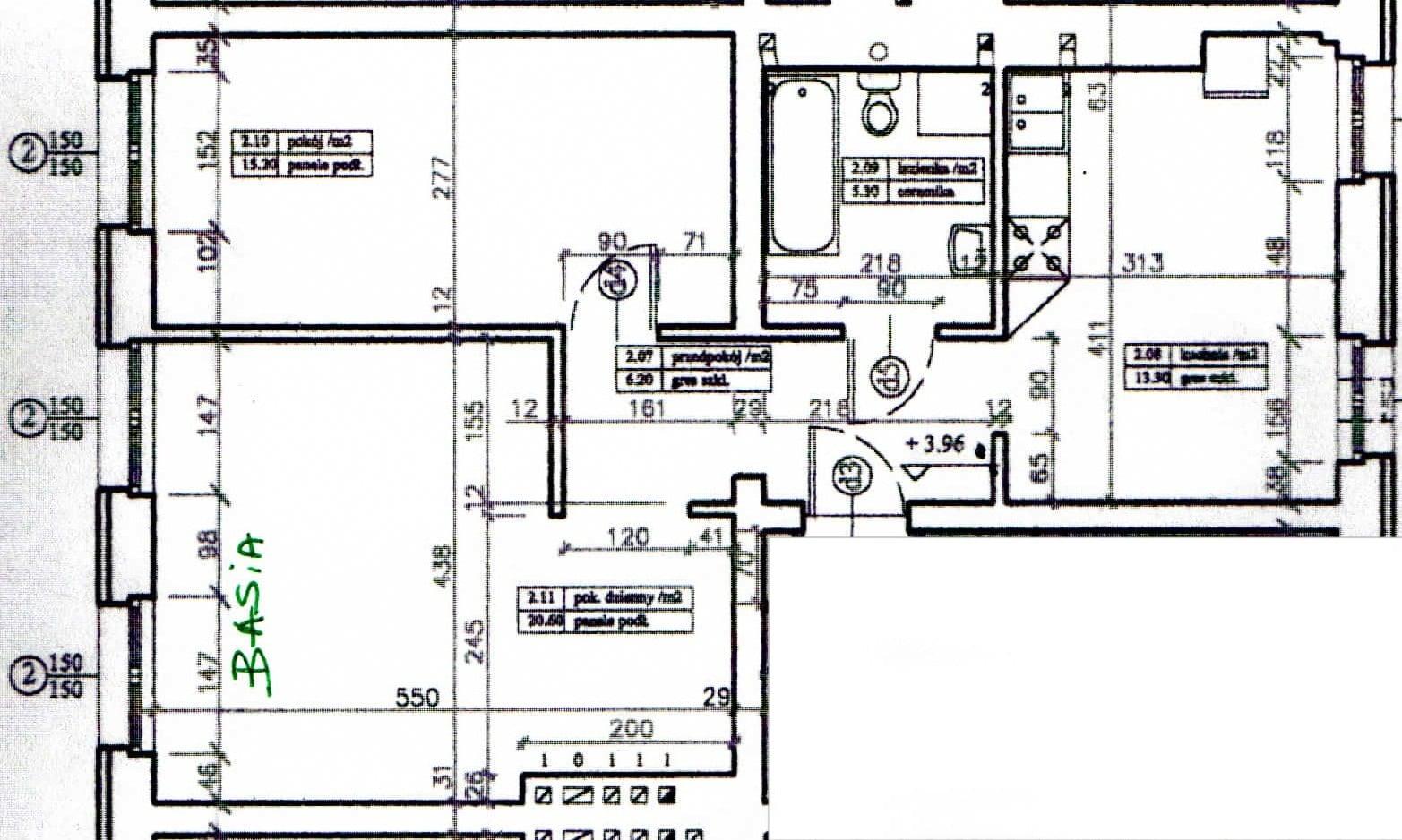 plan dwupokojowego mieszkania przed