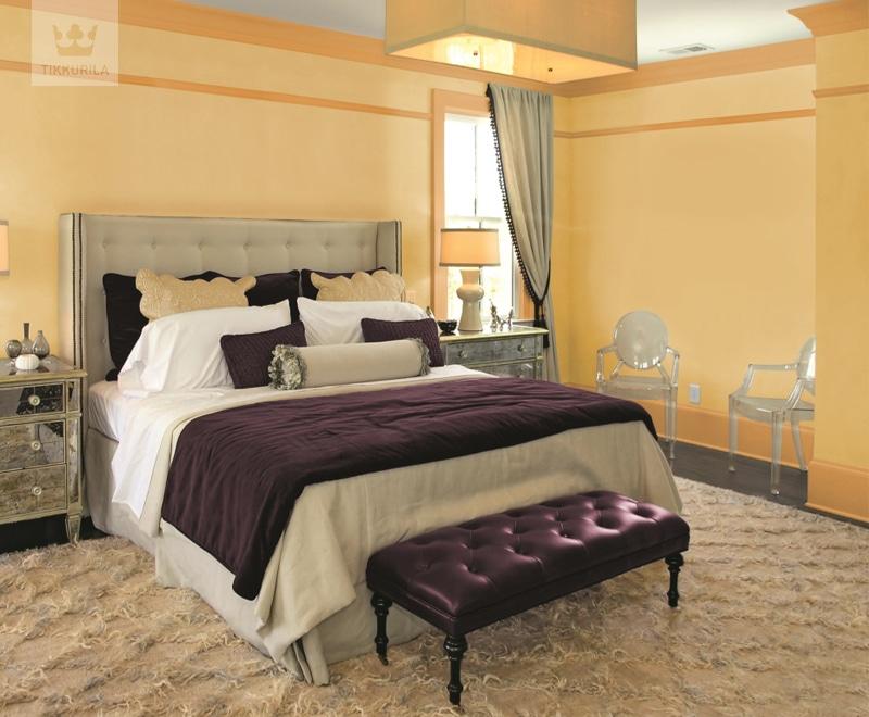 Sypialnia glamour pomalowana farbami Tikkurila z linii Entuzjazm