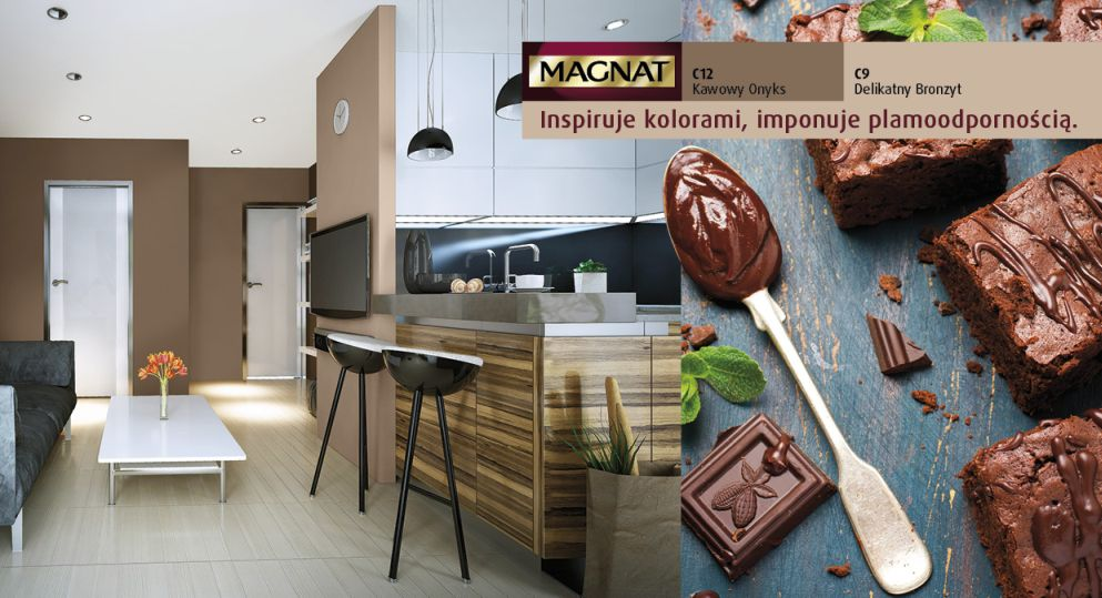 Czekoladowe ściany w kuchni - farby Magnat