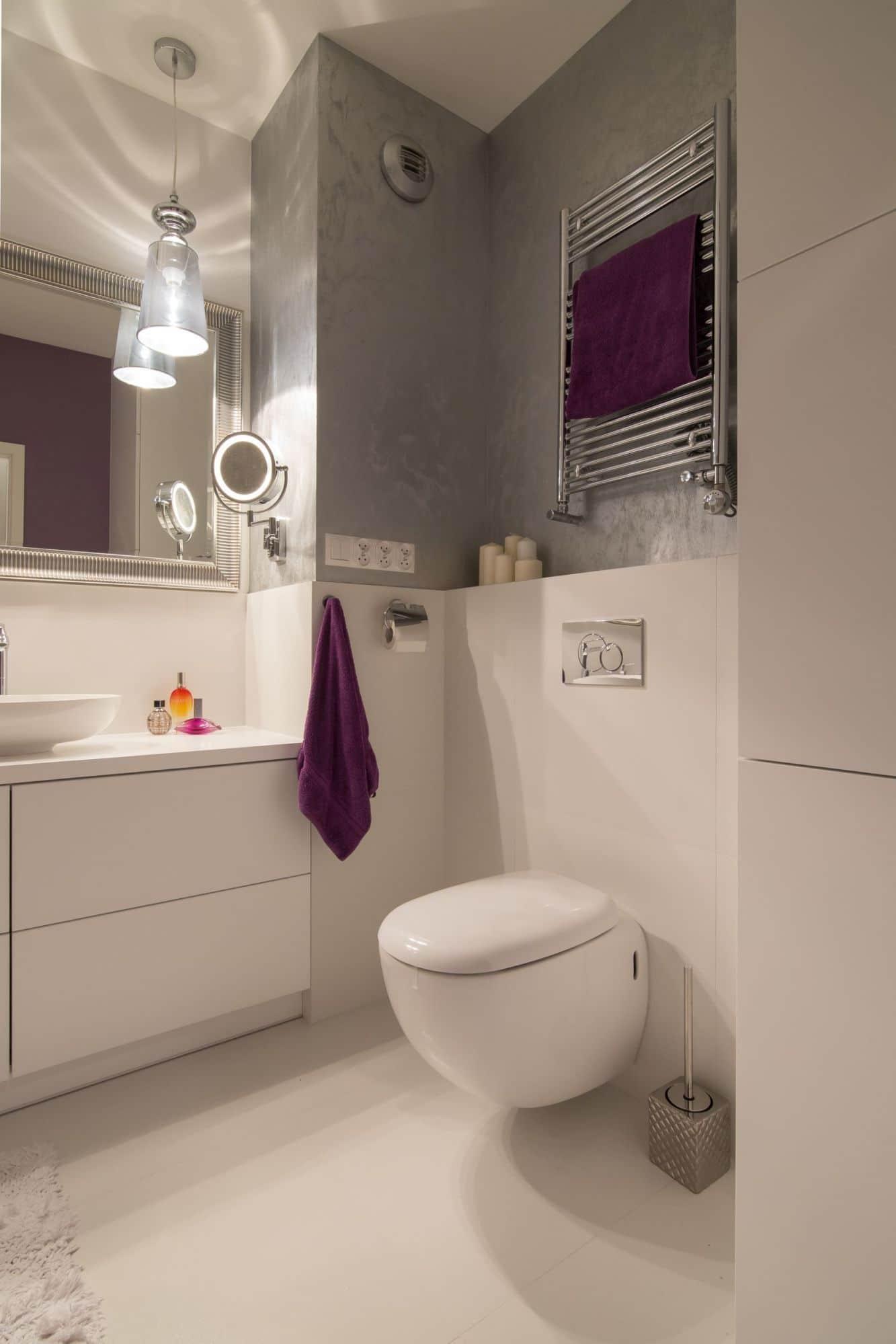 Łazienka w stylu glamour - projekt  Cat Inside Projektowanie Wnętrz