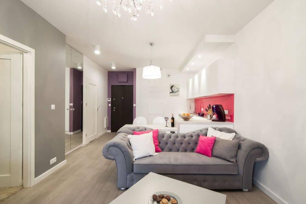 Salon w stylu glamour  Cat Inside Projektowanie Wnętrz