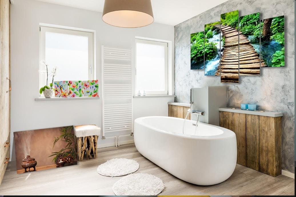 Łazienka z tropikalnymi dekoracjami z feeby.pl