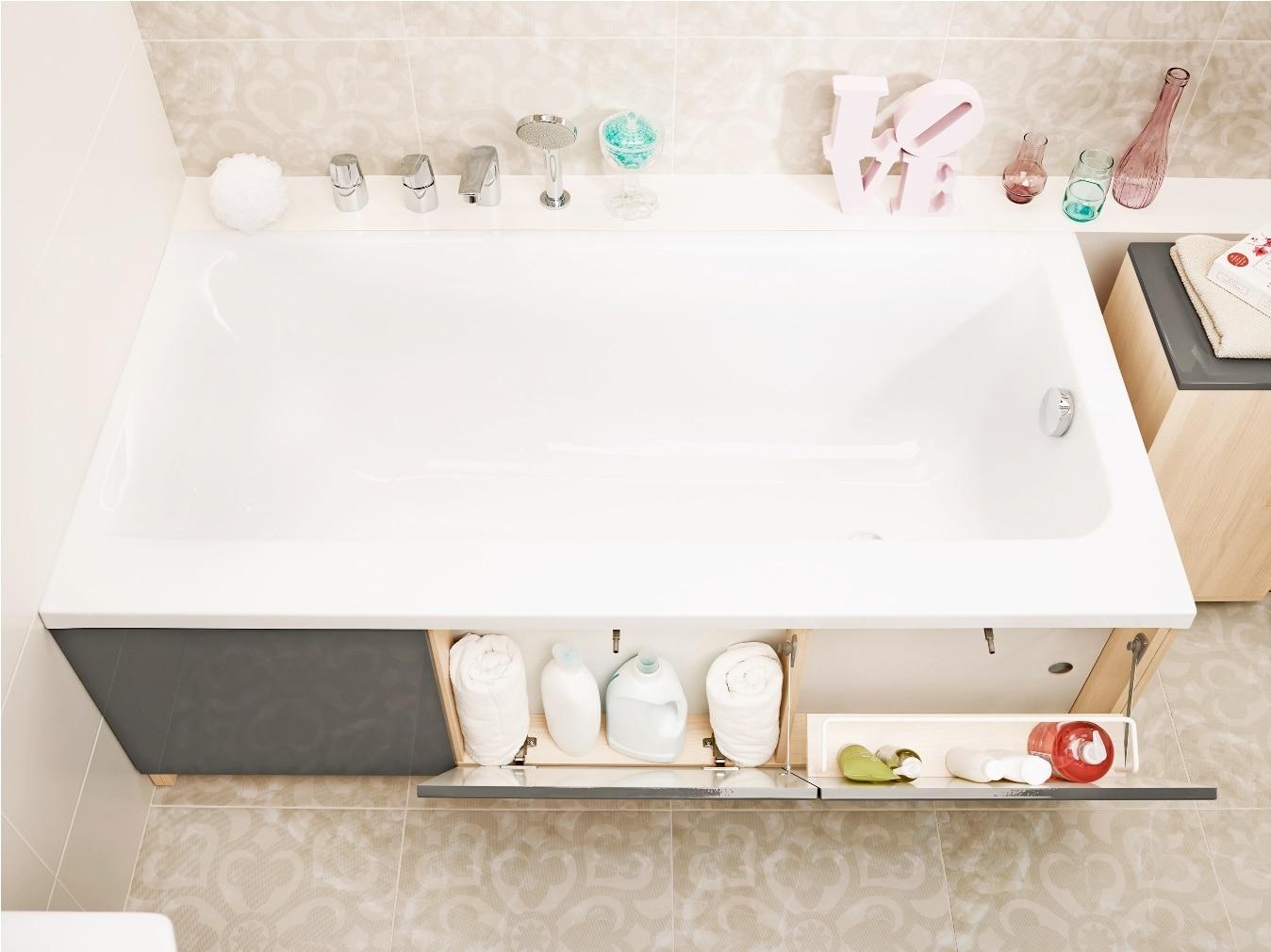 Cersanit Smart White schowki z uchylnymi drzwiczkami w obudowie wanny