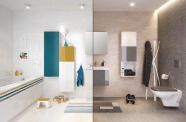Łazienka z kolorowymi meblami