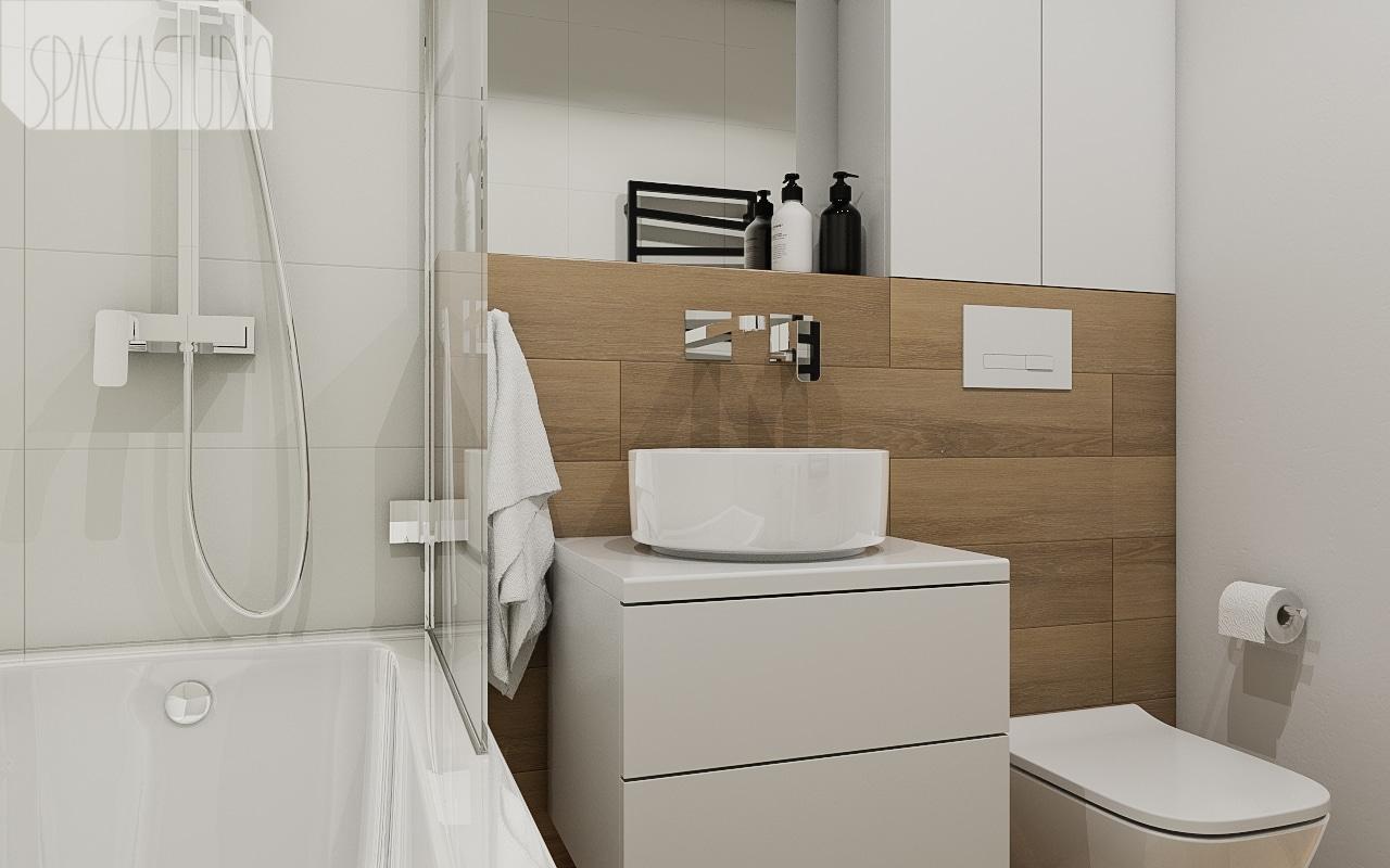 Łazienka w bieli i drewnie; wanna z parawanem
