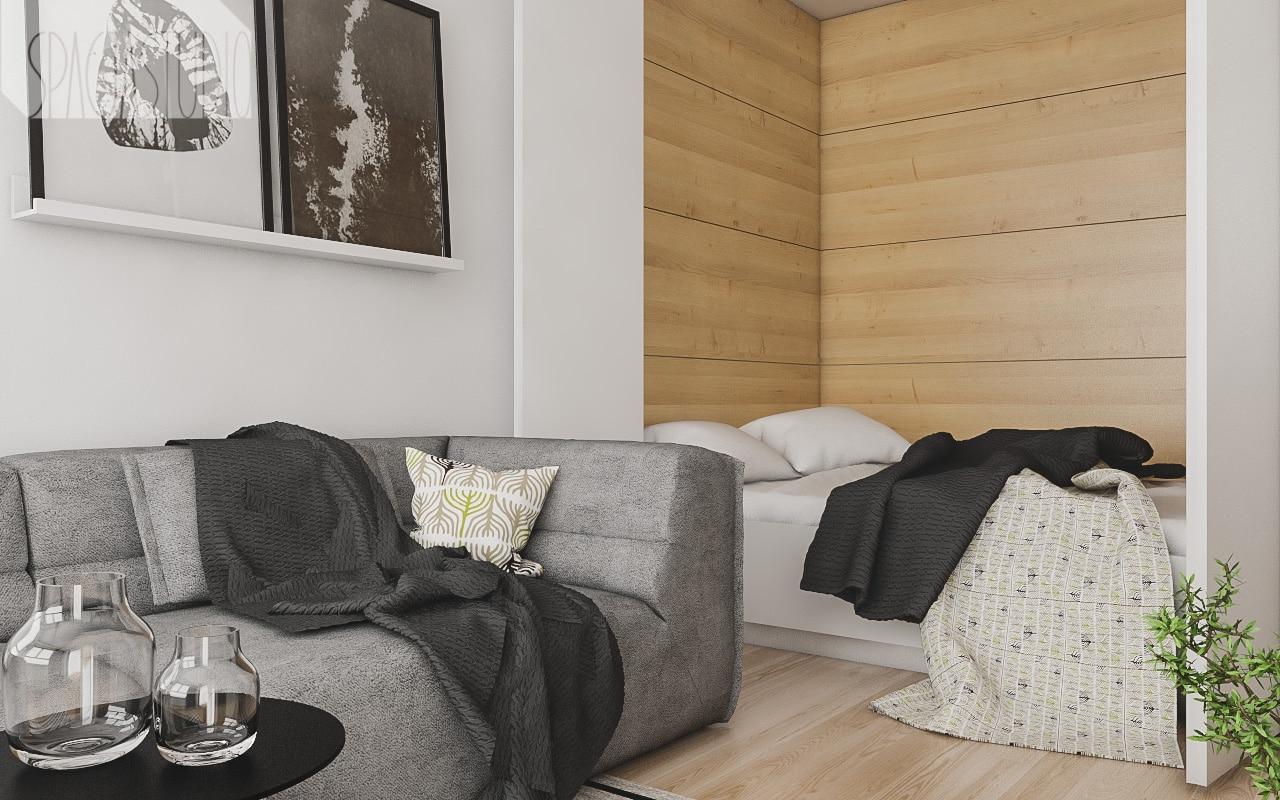 Łóżko na noc błyskawicznie się otwiera- wystarczy przesunąć składane białe drzwi