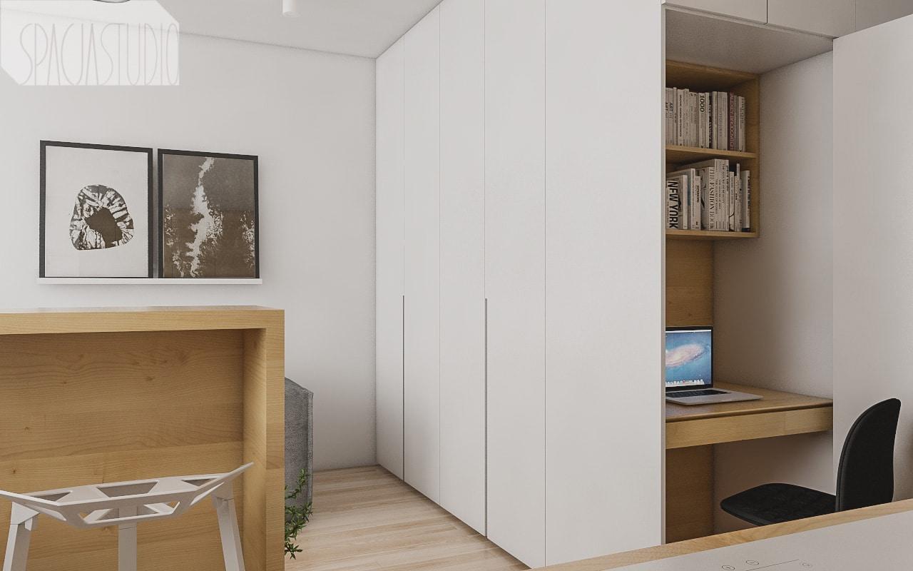 Zabudowa - w niej zamykane przesuwanymi drzwiami łóżko, biurko (toaletka) oraz półki