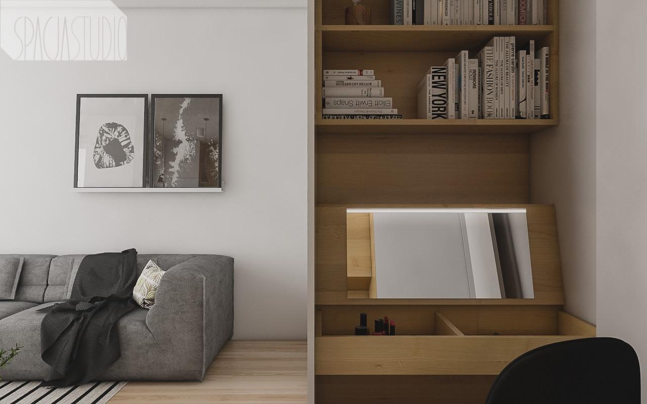 Blat biurka można podnosić, dzięki czemu strefa przeznaczona do pracy zmienia się w toaletkę z lustrem i oświetleniem ledowym.