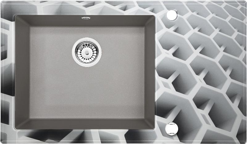 Zlew Deante Capella składa się z dwóch elementów – szklanej tafli oraz granitowej komory