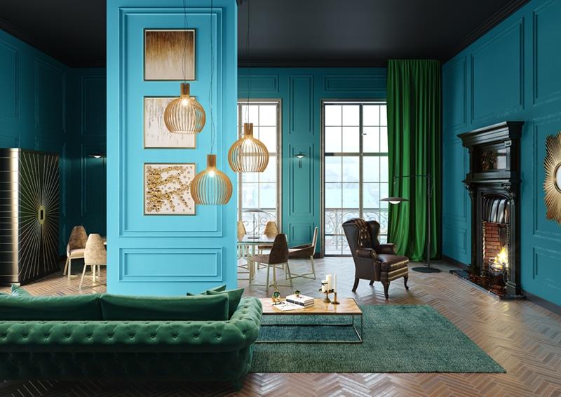 Kolorwe ściany w salonie - pokryte farbą MAGNAT SYPIALNIA POKÓJ DZIECKA