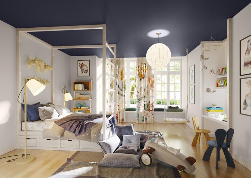 Ściany w pokoju dziecka pomalowane farbą Magnat usuwająca formaldehyd z powietrza