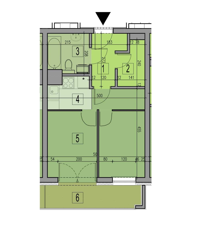 Plan mieszkania dwa pokoje w kawalerce wersja 2