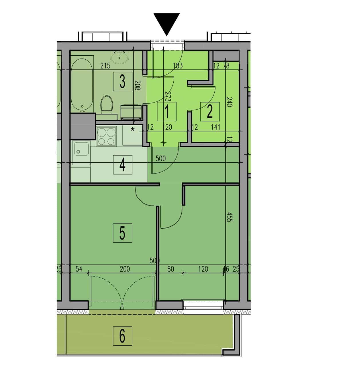 Plan mieszkania 2 pokoje na 35 metrach kwadratowych - wersja 1