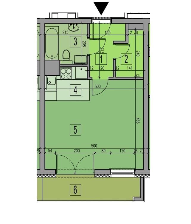 Plan mieszkania 35 m2 przed zmianami