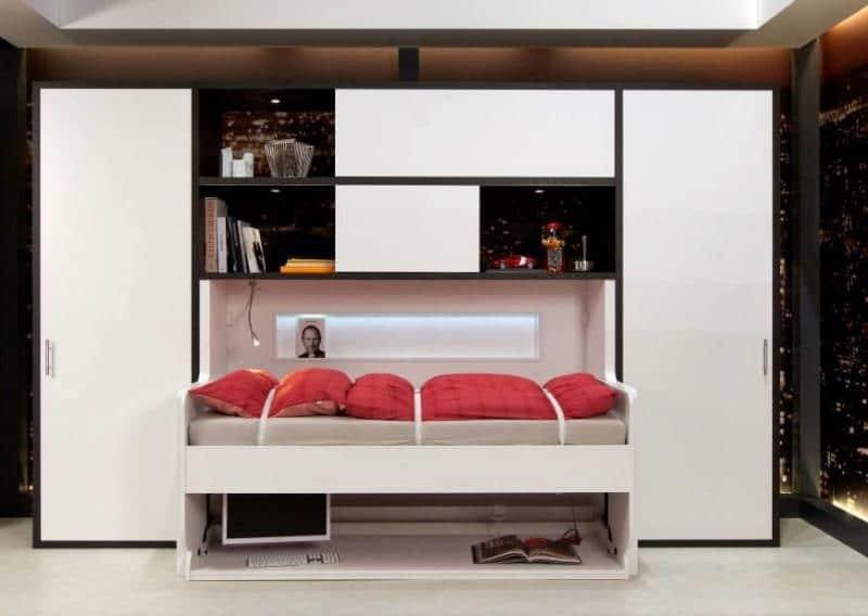 okucie Tavoletto Häfele to rozwiązanie pozwalające na łączenie funkcji biurka i łóżka