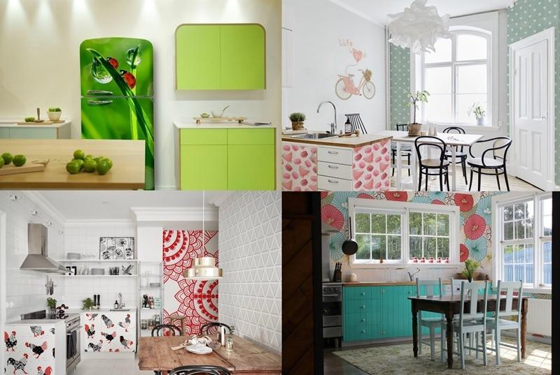 Kolorowe kuchnie z tapetami i naklejkami Pixers