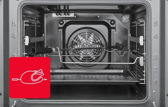 Elektryczny rożen i termoobieg w kuchence wolno stojącej