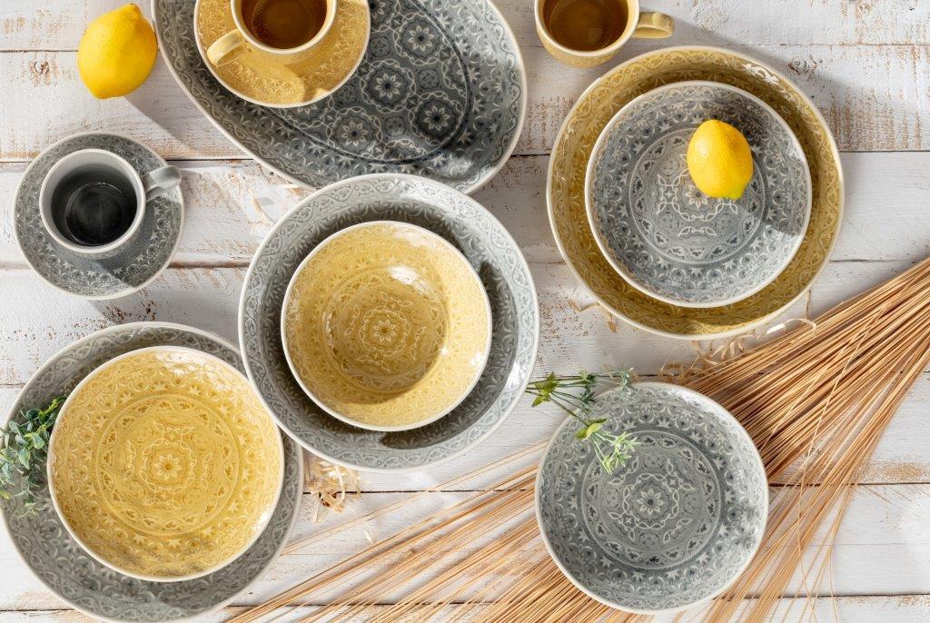Dekoria.pl, porcelana Yellow Amber, porcelana Grey Stone