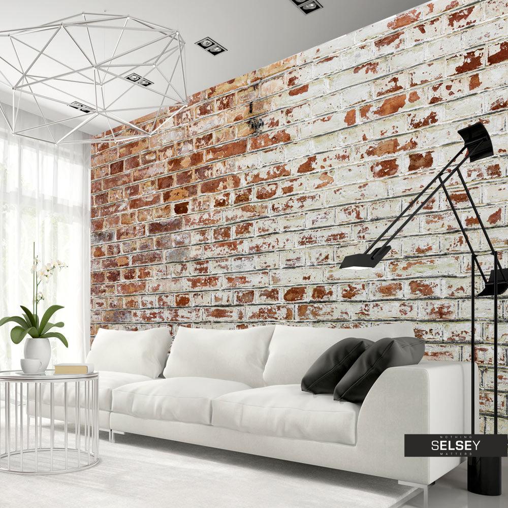 Biała sofa na tle fototapety