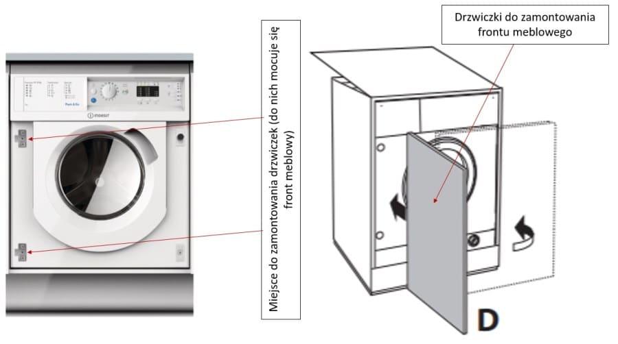 Montaż frontu meblowego w pralce do zabudowy