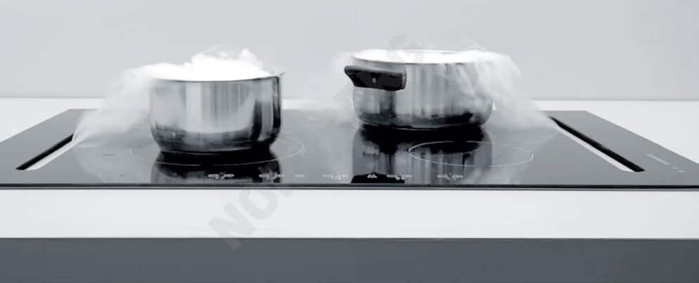 Okap blatowy Integra firmy Nortberg - zintegrowany z płytą indukcyjną