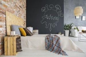 sypialnia z salonem w stylu industrialnym