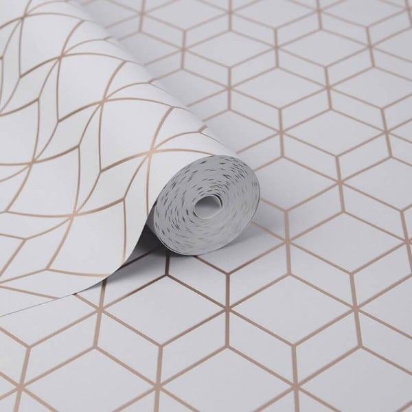 Tapeta geometryczna w świecące romby