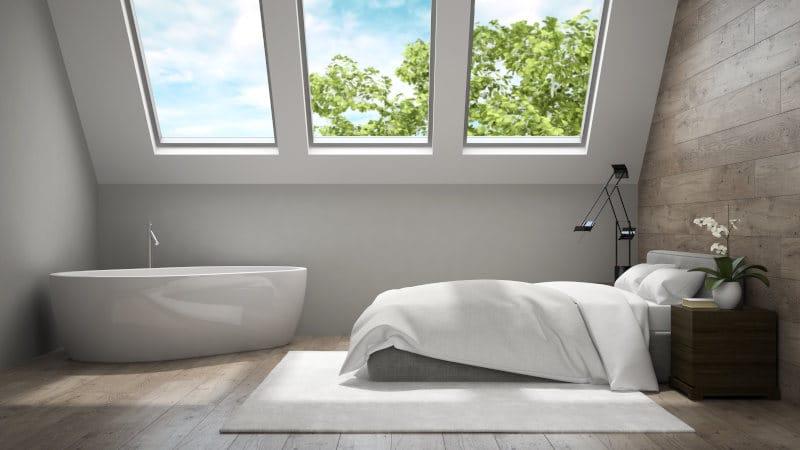 płytki i drewno w sypialni