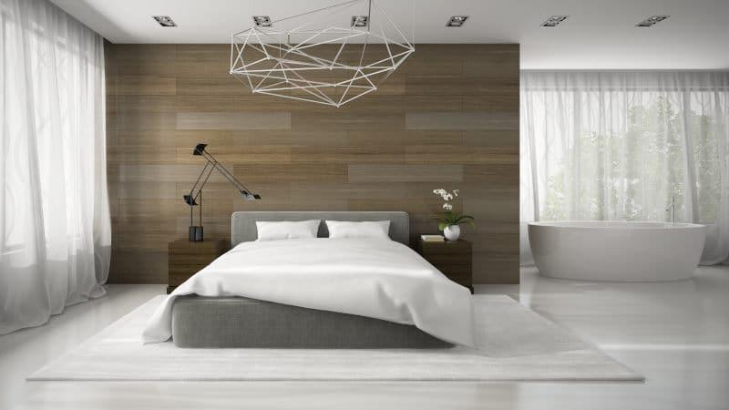 płytki drewnopodobne w sypialni