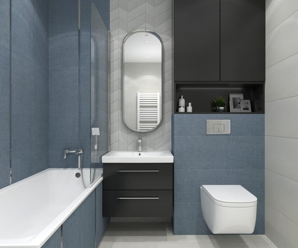 aranżacja małej niebieskiej łazienki