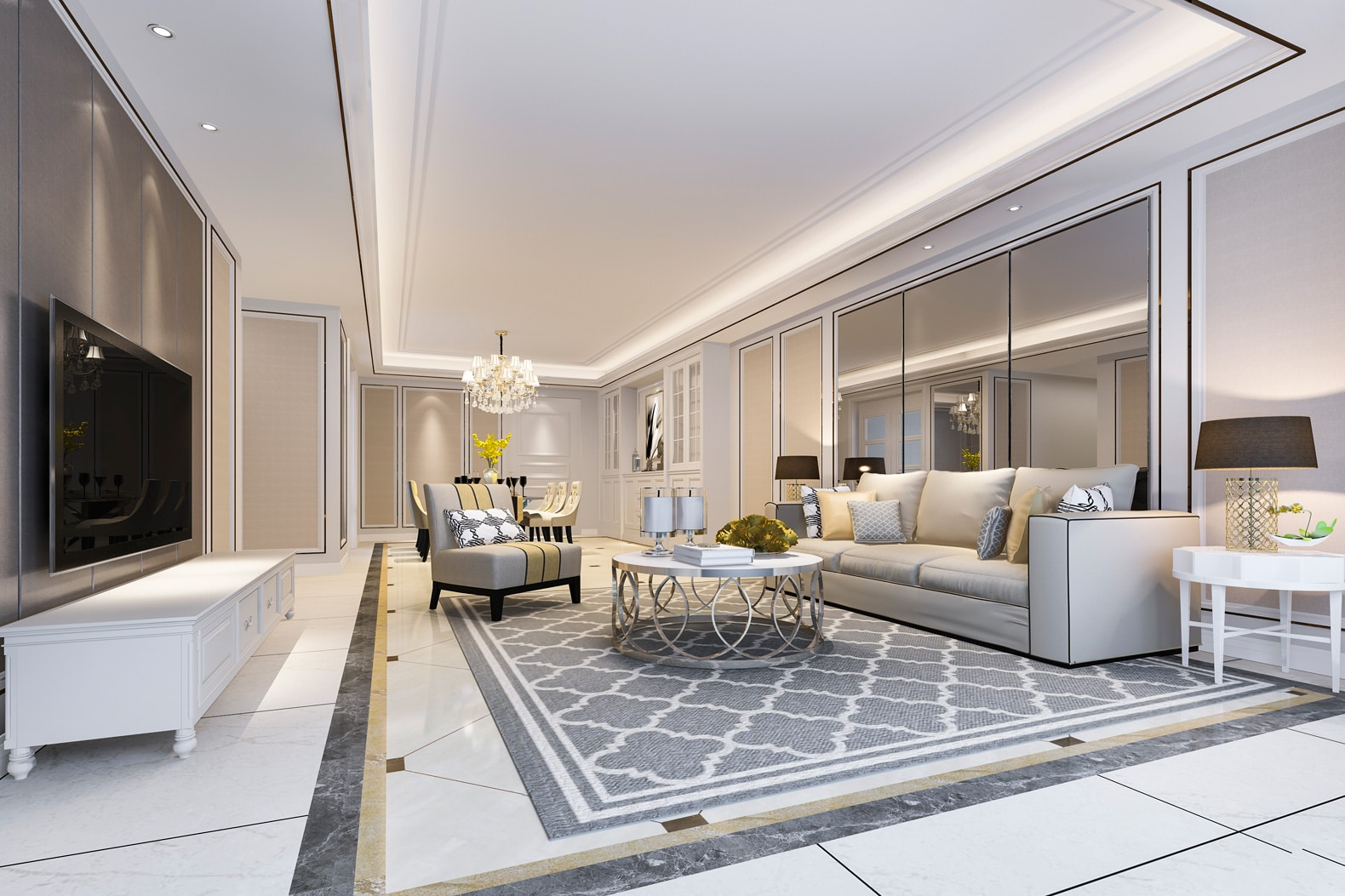 Duży salon w stylu glamour z lustrami
